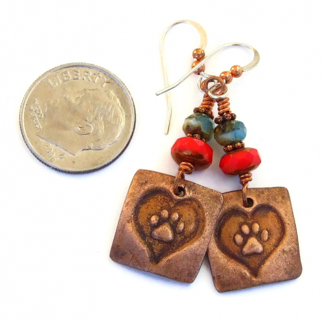 cat dog paw print in heart jewelry