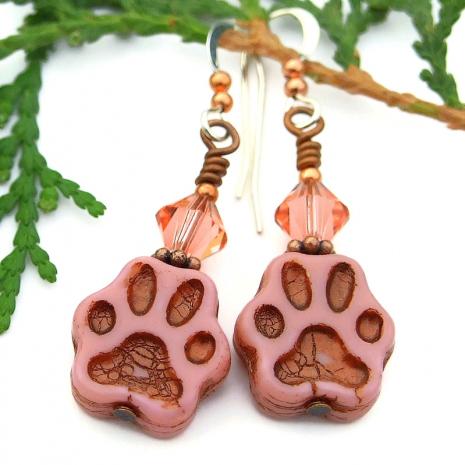 cat dog paw print jewelry with Swarovski crystals