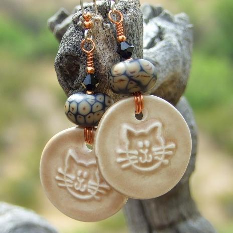 cat kitty ceramic earrings gift for women