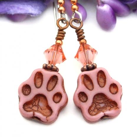 cat rescue paw print earrings