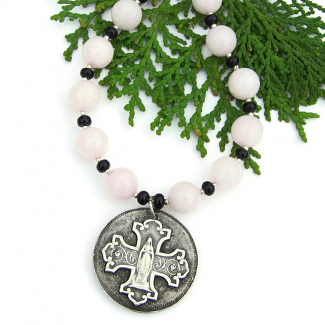 virgin mary and budded cross necklace with rose quartz and black onyx gemstones