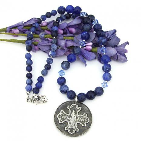catholic necklace with virgin mary pendant