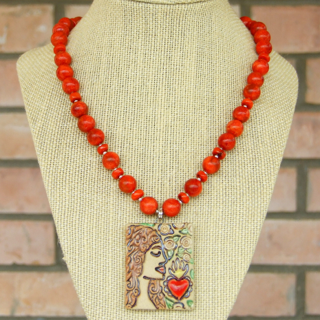 catholic sacred heart pendant necklace with red coral