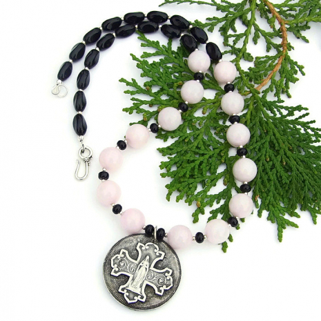 virgin mary necklace with pink rose quartz and black onyx