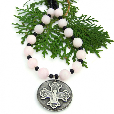 virgin mary and cross necklace for women