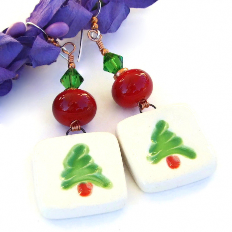 ceramic christmas tree earrings handmade lampwor swarovski crystals