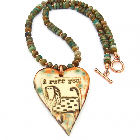 ceramic dog and heart pendant necklace with turquoise