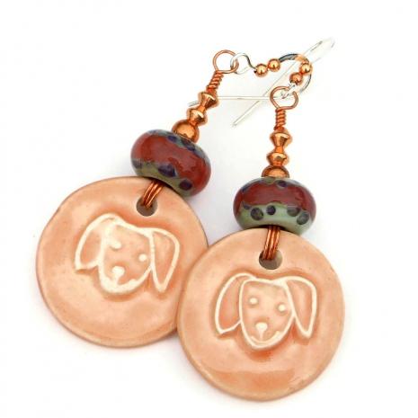 ceramic dog face head earrings gift for her