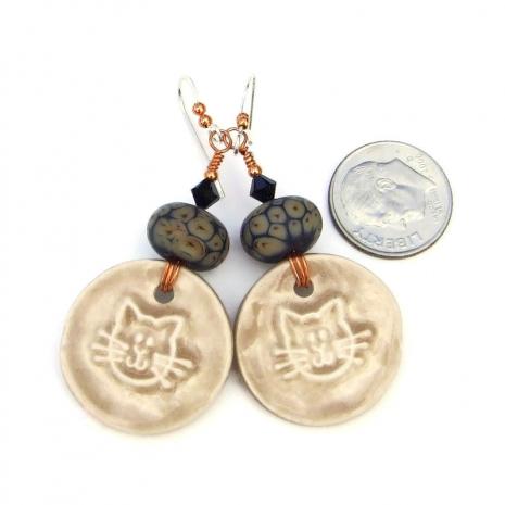 ceramic kitty cat and lampwork earrings
