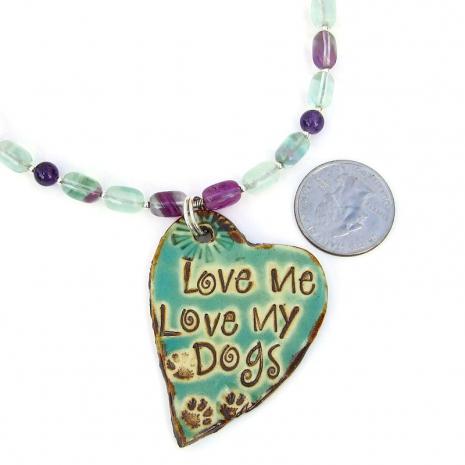 ceramic love me love my dogs jewelry gemstone pendant necklace