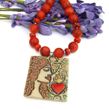 ceramic sacred heart, woman and roses handmade jewelry