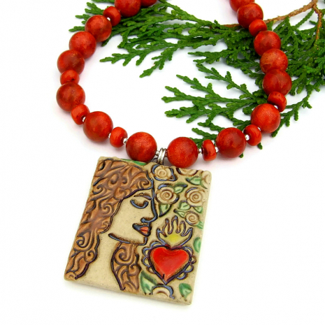 ceramic sacred heart, woman and roses handmade pendant necklace
