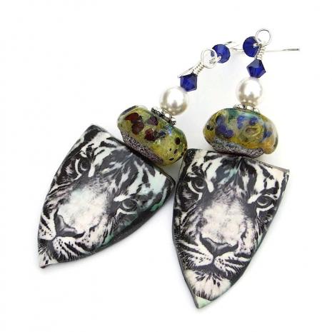 ceramic tiger shield earrings gift for her