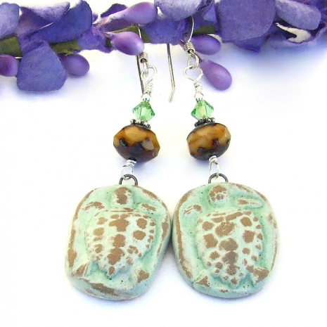 ceramic turtle earrings with crystals