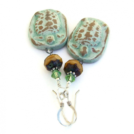 ceramic turtle jewelry with crystals