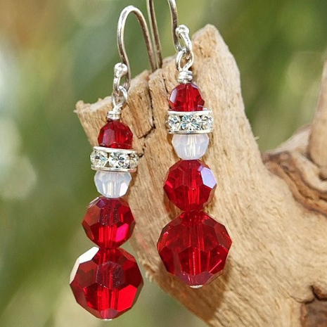 swarovski crystal santa earrings christmas gift for women