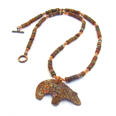 chakra bear necklace gift for women