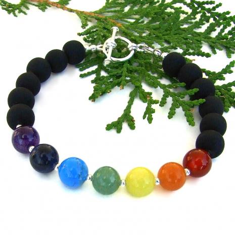 chakra seven gemstone yoga meditation bracelet