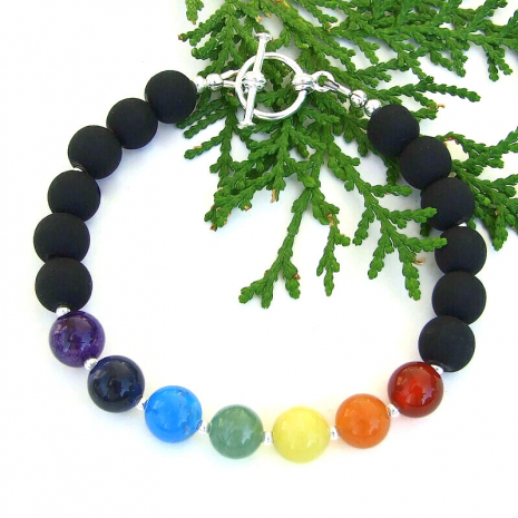 chakra seven gemstone yoga meditation jewelry