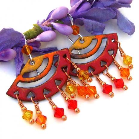 chandelier earrings with red orange  yellow crystal dangles
