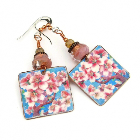 cherry blossom handmade earrings gift for women