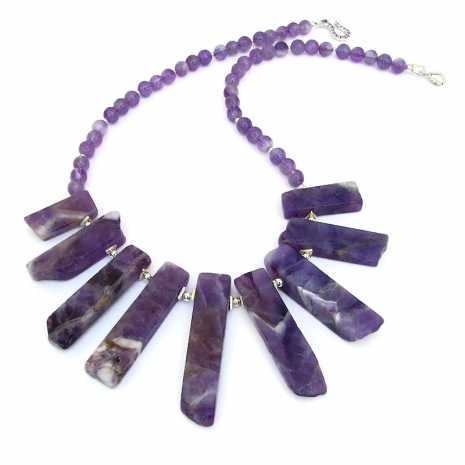 chevron amethyst stick jewelry gift for her