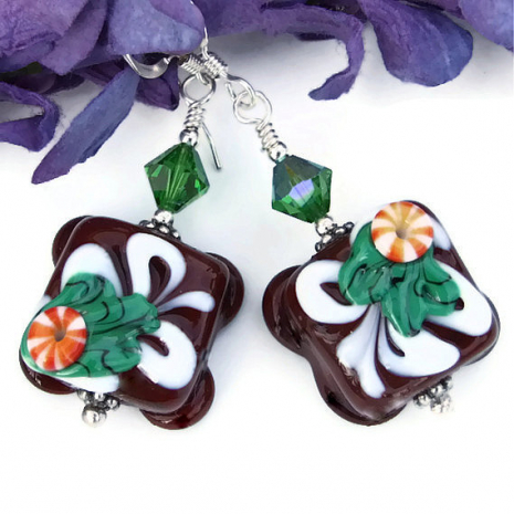 chocolate candy lampwork christmas earrings jewelry for her