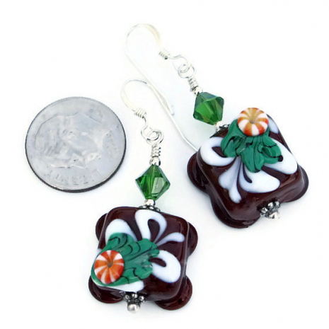 Edible looking chocolate petit fours lampwork glass Christmas earrings.