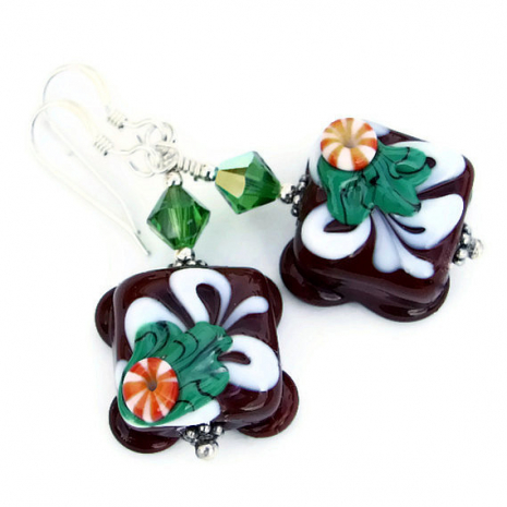 Chocolate candy earrings gift idea for Christmas.