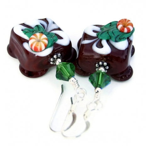 Christmas chocolate candy lampwork earrings.