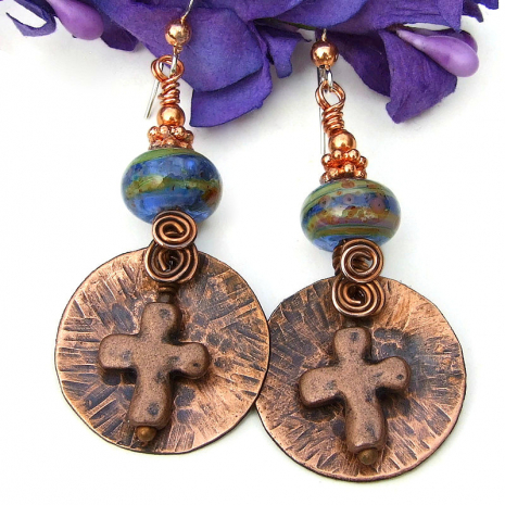 christian cross rustic jewelry with lampwork
