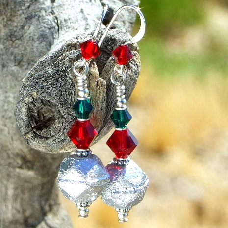 christmas jewelry in silver red green