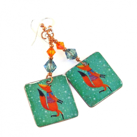 christmas fox handmade earrings gift for her