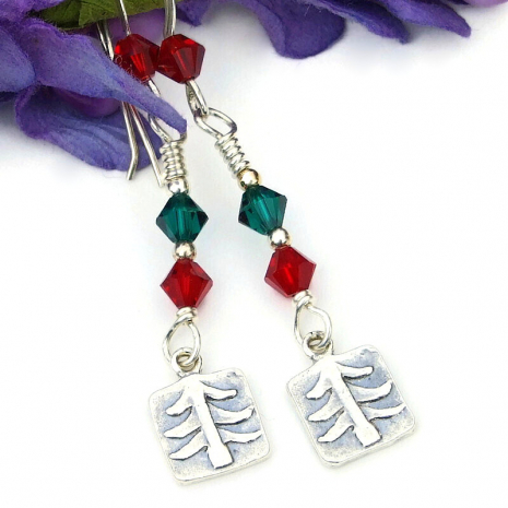 christmas holiday earrings trees red green crystals