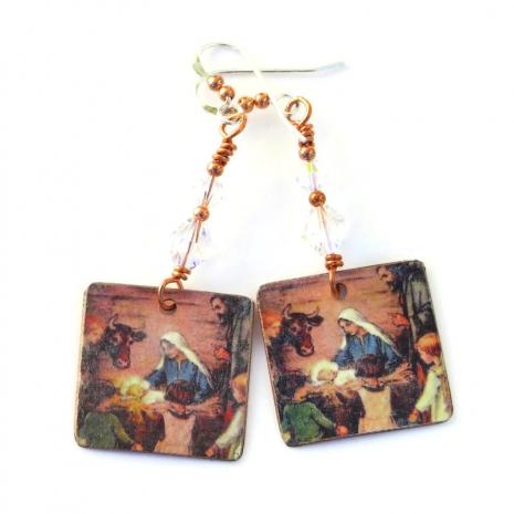 christmas nativity manger scene earrings gift for women