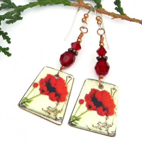 valentines day red poppy earrings with red Swarovski crystals