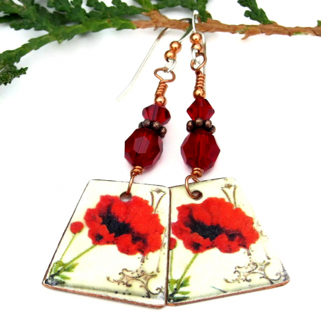 valentines red poppy jewelry with red Swarovski crystals
