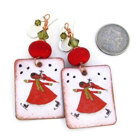christmas skating reindeer jewelry holiday gift for her