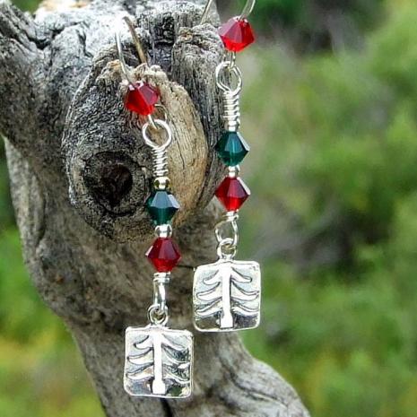 christmas tree earrings gift for her
