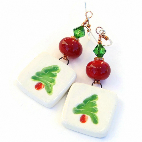 christmas tree earrings holiday gift for women