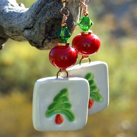 christmas tree earrings with red lampwork green swarovski crystals