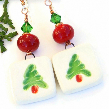 christmas tree jewelry with red lampwork green swarovski crystals