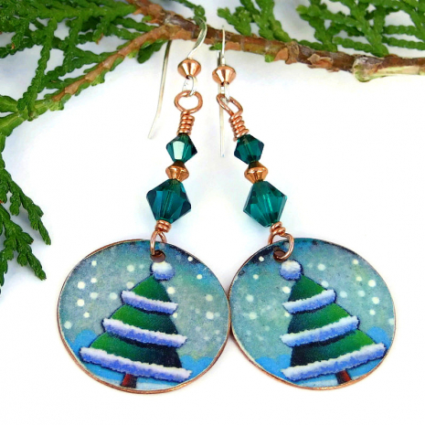christmas trees and snow holiday dangle earrings with green crystals