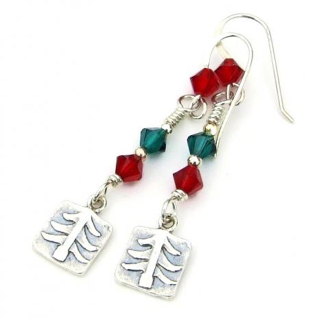 christmas trees handmade earrings gift for women