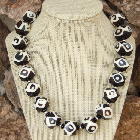 chunky black and white african batik bead necklace with black onyx