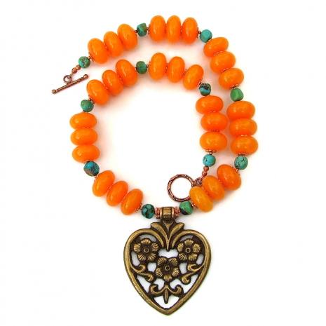 chunky flower heart pendant jewelry gift for women