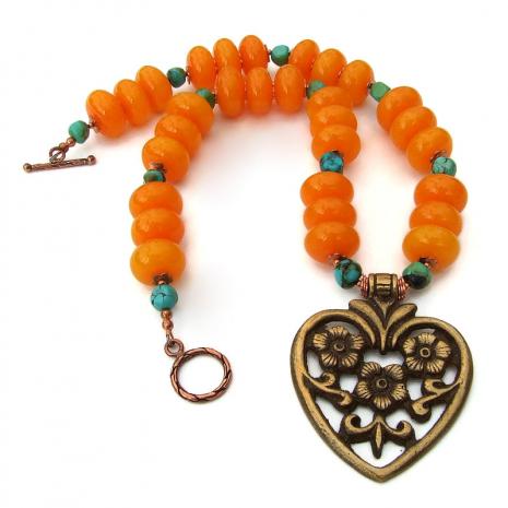 chunky flower heart pendant necklace gift for women