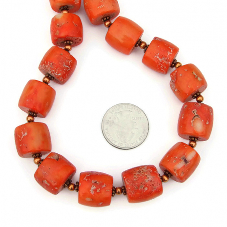 rustic orange coral drum jewelry for her