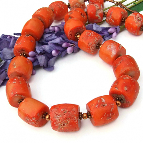 chunky orange coral and copper jewelry gift idea