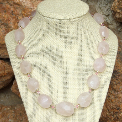 asteroid cut rose quartz gemstone necklace